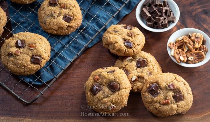 Horizontal of Chocolate Chunk Molasses Cookies