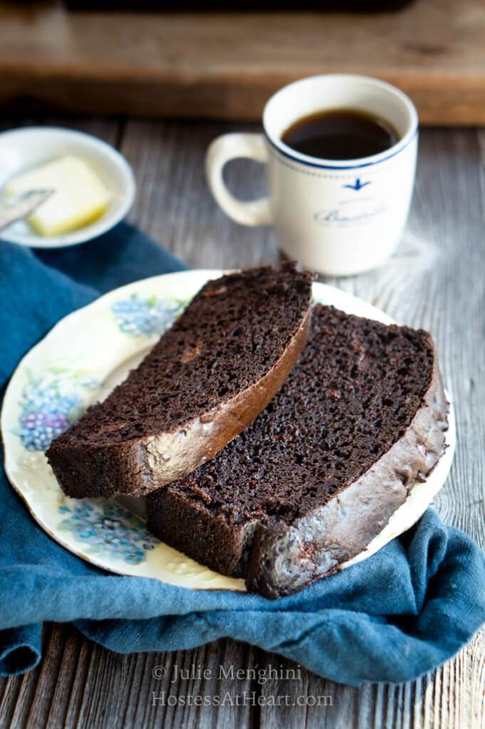 View of top of two slices of chocolate banana bread