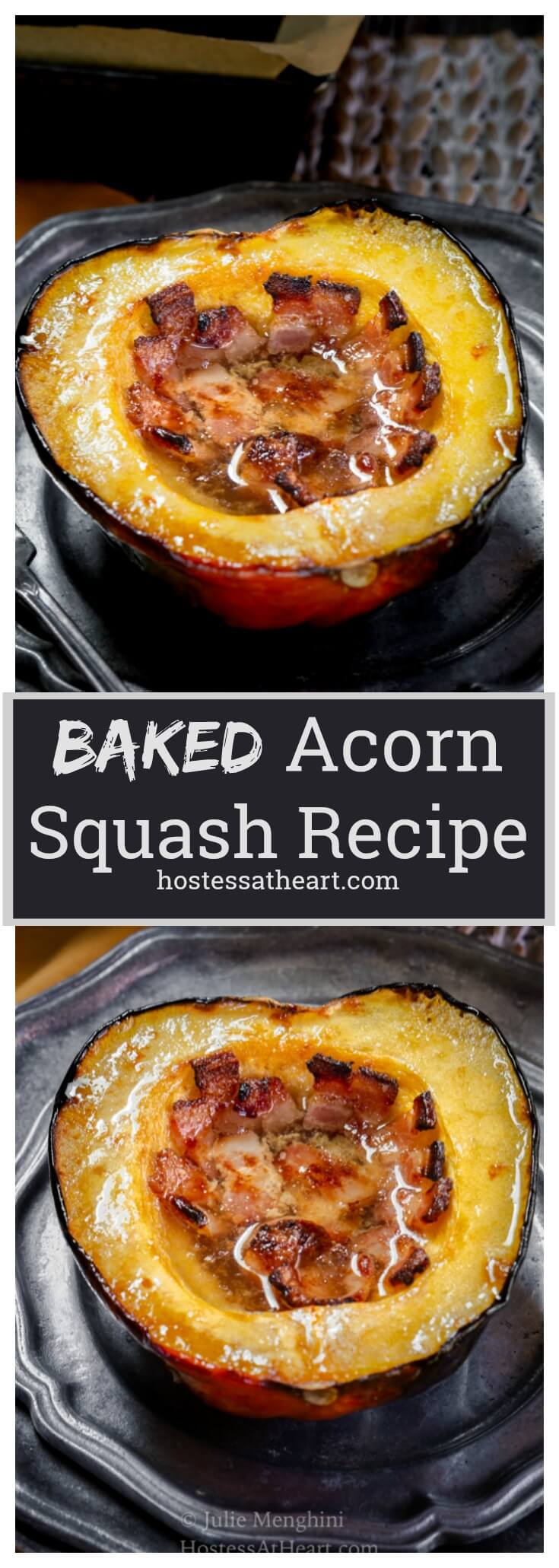 Baked Acorn Squash with Bacon and Brown Sugar is sweet, smokey and perfect for Fall.  It's delicious as a meal or side dish | HostessAtHeart.com #bakedacornsquash #acornsquash #sidedish #fallrecipes