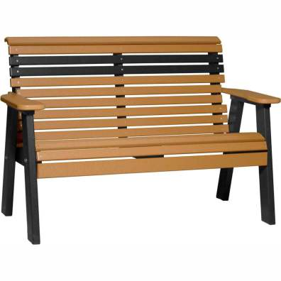 LuxCraft Poly 4' Plain Bench Cedar & Black