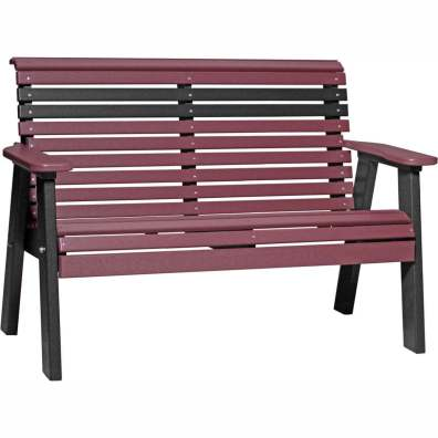 LuxCraft Poly 4' Plain Bench Cherrywood & Black