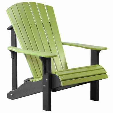 LuxCraft Poly Deluxe Adirondack Chair Lime Green & Black