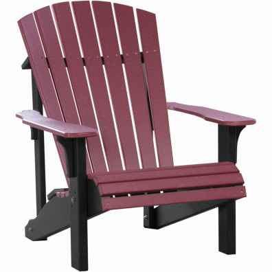 LuxCraft Poly Deluxe Adirondack Chair Cherrywood & Black