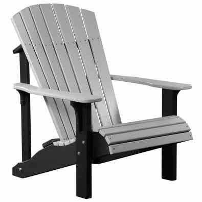 LuxCraft Poly Deluxe Adirondack Chair Dove Gray & Black