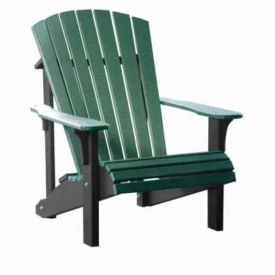 LuxCraft Poly Deluxe Adirondack Chair Green & Black