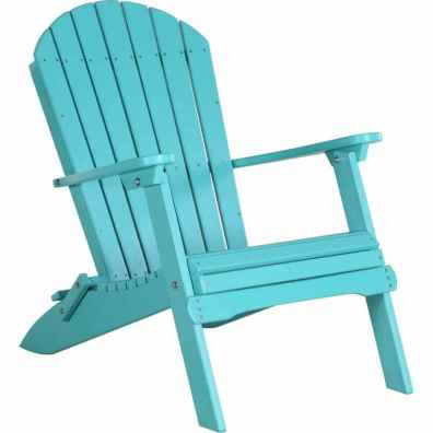 LuxCraft Poly Folding Adirondack Chair Aruba Blue
