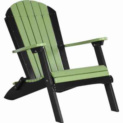 LuxCraft Poly Folding Adirondack Chair Lime Green & Black