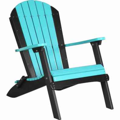 LuxCraft Poly Folding Adirondack Chair Aruba Blue & Black
