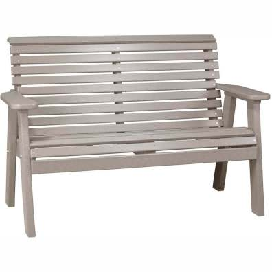 LuxCraft Poly 4' Plain Bench Weatherwood