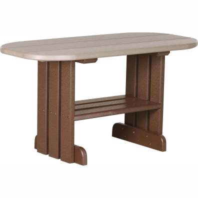 LuxCraft Poly Coffee Table Weatherwood & Chestnut Brown