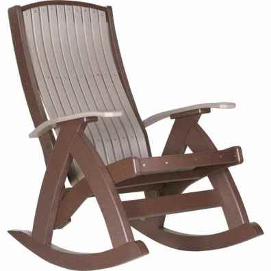 LuxCraft Poly Comfort Rocker Weatherwood & Chestnut Brown