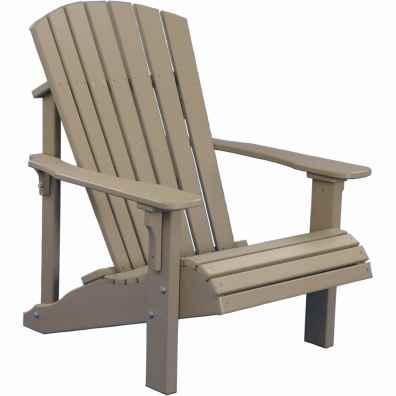 LuxCraft Poly Deluxe Adirondack Chair Weatherwood