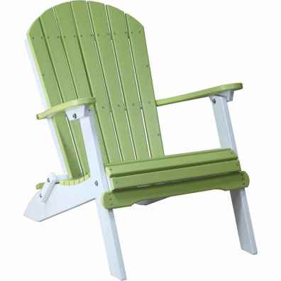 LuxCraft Poly Folding Adirondack Chair Lime Green & White
