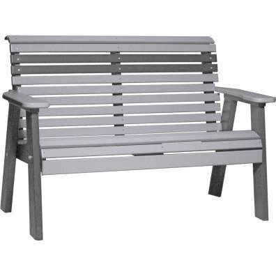 LuxCraft Poly 4' Plain Bench Dove Gray & Slate