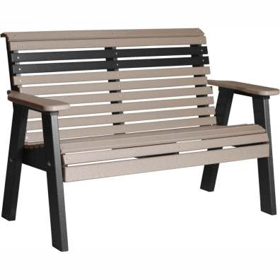 LuxCraft Poly 4' Plain Bench Weatherwood & Black