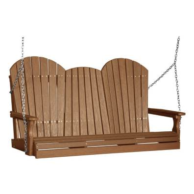 LuxCraft Poly Adirondack Swing 5' Antique Mahogany