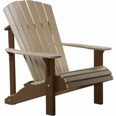 LuxCraft Poly Deluxe Adirondack Chair Weatherwood & Chestnut Brown