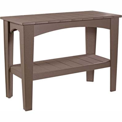 LuxCraft Poly Island Buffet Table Chestnut Brown