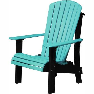 LuxCraft Poly Royal Adirondack Chair Aruba Blue & Black