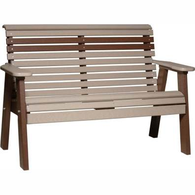 LuxCraft Poly 4' Plain Bench Weatherwood & Chestnut Brown