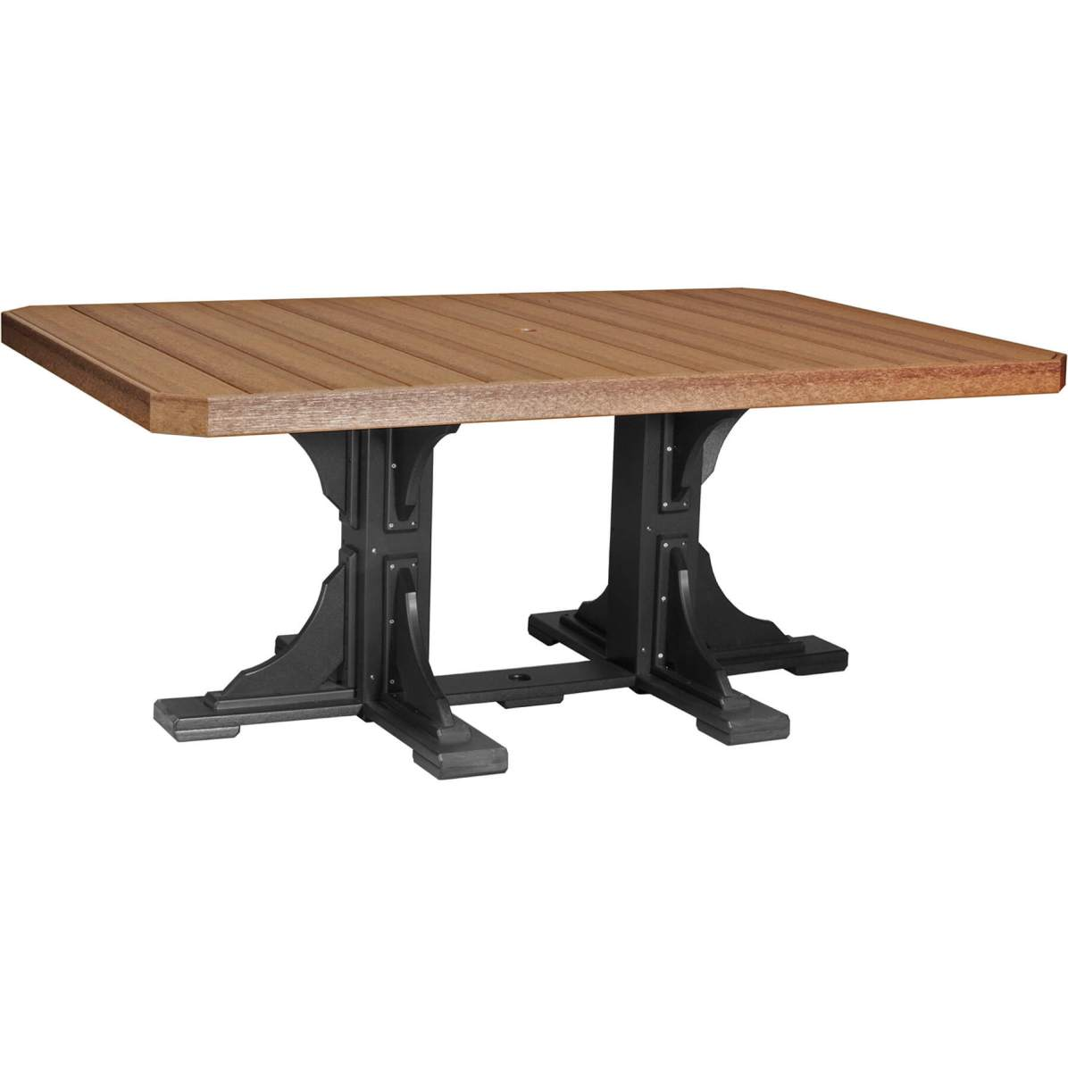 P46RTAMB Poly 4' x 6' Rectangular Table (Antique Mahogany & Black) Dining Height
