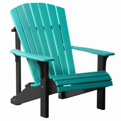 LuxCraft Poly Deluxe Adirondack Chair Aruba Blue & Black