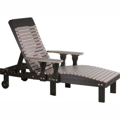 LuxCraft Poly Lounge Chair Weatherwood & Black