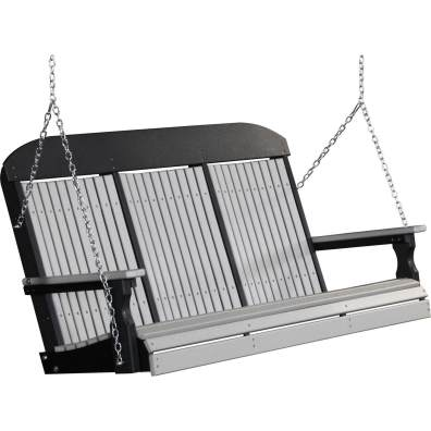 LuxCraft Poly 5' Classic Swing Dove Gray & Black