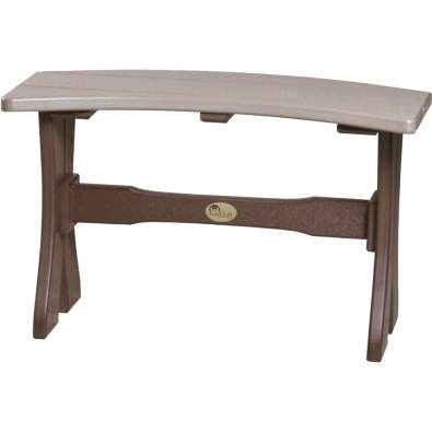 LuxCraft Poly 28'' Table Bench Weatherwood & Chestnut Brown
