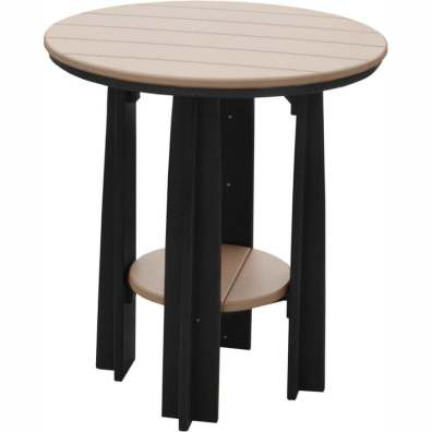 "LuxCraft Poly 36"" Balcony Table Weatherwood & Black"