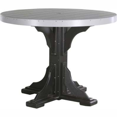 LuxCraft Poly 4' Round Table Counter Height Dove Gray & Black