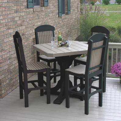 "LuxCraft Poly 41"" Square Table Set #1 Weatherwood & Black Bar Height"