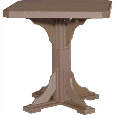 "LuxCraft Poly 41"" Square Table Bar Height Chestnut Brown"