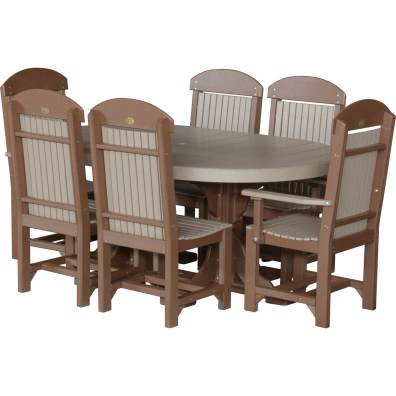LuxCraft Poly 4x6 Oval Table Set #2 Weatherwood & Chestnut Brown Dining Height