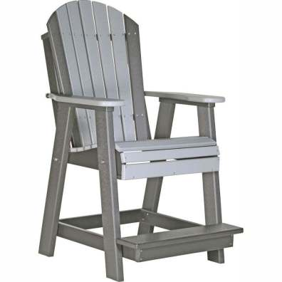LuxCraft Poly Adirondack Balcony Chair Dove Gray & Slate