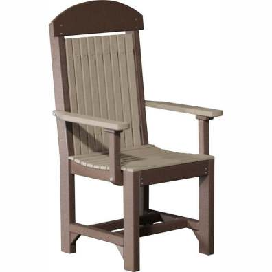 LuxCraft Poly Captains Chair Dining Height Weatherwood & Chestnut Brown