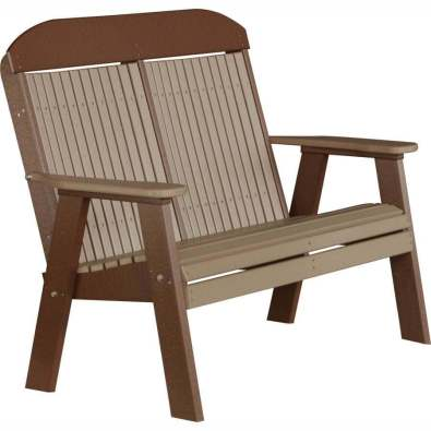 LuxCraft Poly 4' Classic Bench Weatherwood & Chestnut Brown