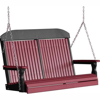 LuxCraft Poly 4' Classic Swing Cherrywood & Black
