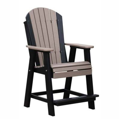 LuxCraft Poly Adirondack Balcony Chair Weatherwood & Black