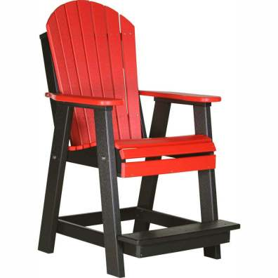 LuxCraft Poly Adirondack Balcony Chair Red & Black