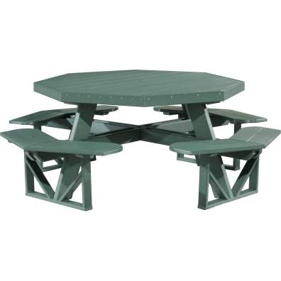 LuxCraft Poly Octagon Picnic Table Green