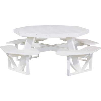 LuxCraft Poly Octagon Picnic Table White