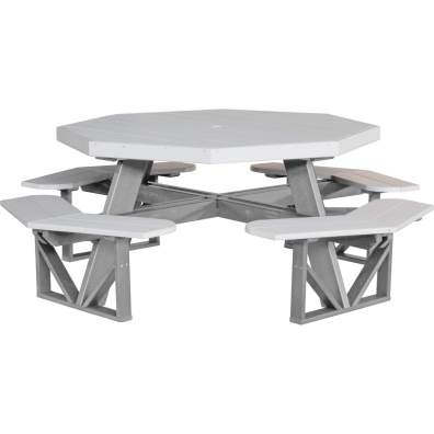 LuxCraft Poly Octagon Picnic Table Dove Gray & Slate