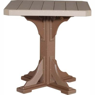 "LuxCraft Poly 41"" Square Table Bar Height Weatherwood & Chestnut Brown"