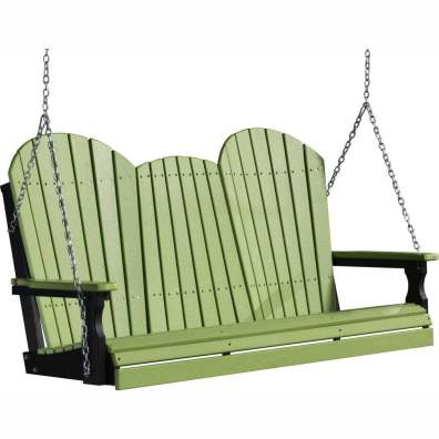 LuxCraft Poly 5' Adirondack Swing Lime Green & Black