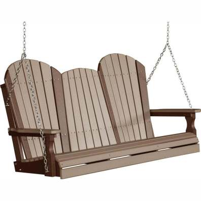 LuxCraft Poly 5' Adirondack Swing Weatherwood & Chestnut Brown
