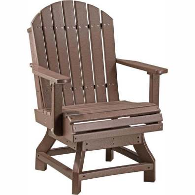 LuxCraft Poly Adirondack Swivel Chair (Dining Height) Chestnut Brown