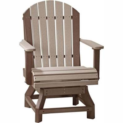 LuxCraft Poly Adirondack Swivel Chair (Dining Height) Weatherwood & Chestnut Brown