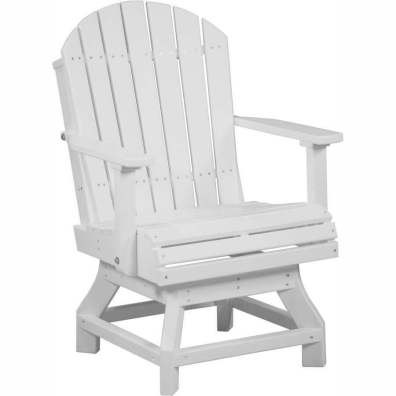 LuxCraft Poly Adirondack Swivel Chair (Dining Height) White