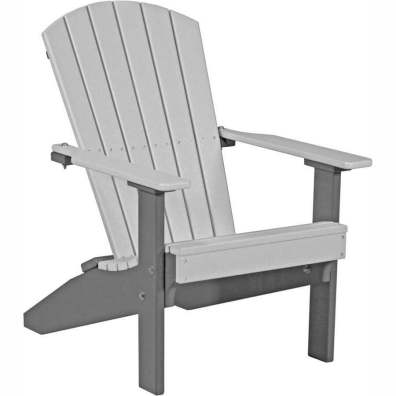 LuxCraft Poly Lakeside Adirondack Chair Dove Gray & Slate